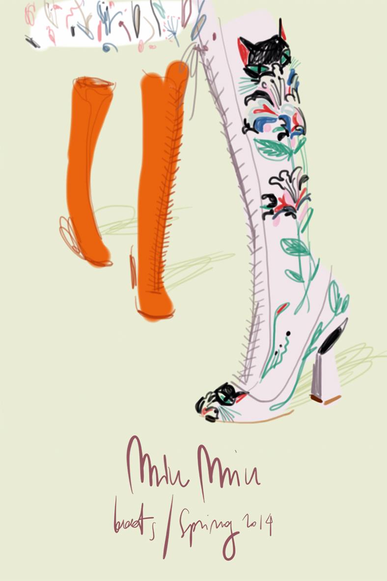 Miu Miu boots | Fashion Illustration by Silvana Mariani