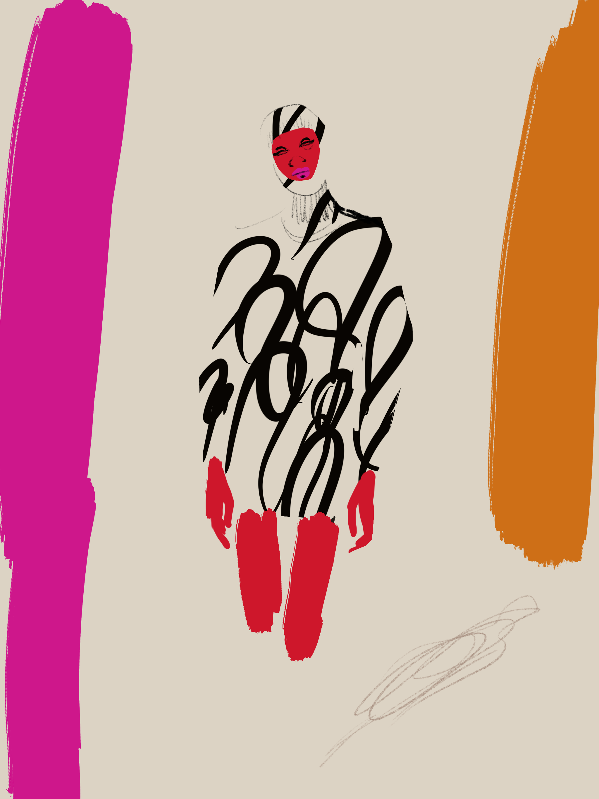 Fashion Illustration pattern dress by Silvana Mariani