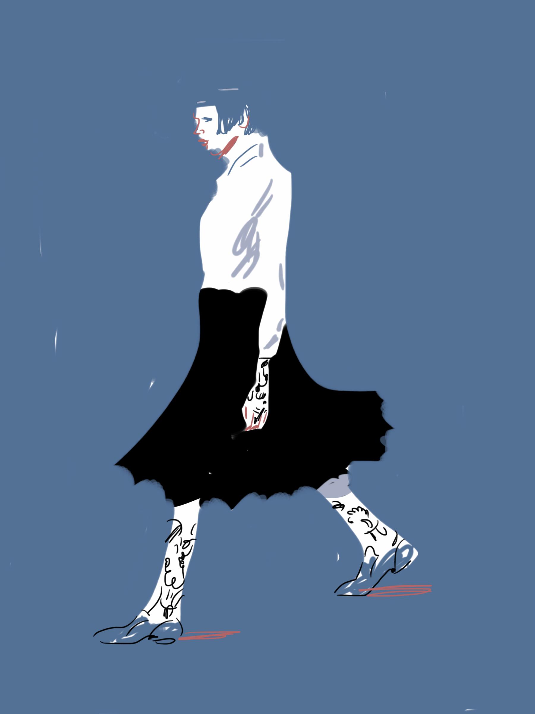 Watanabe - Runway illustration by Silvana Mariani