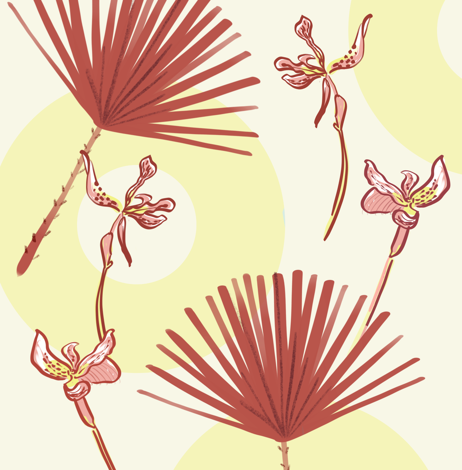 palm leaf and orchids illustration by Silvana Mariani