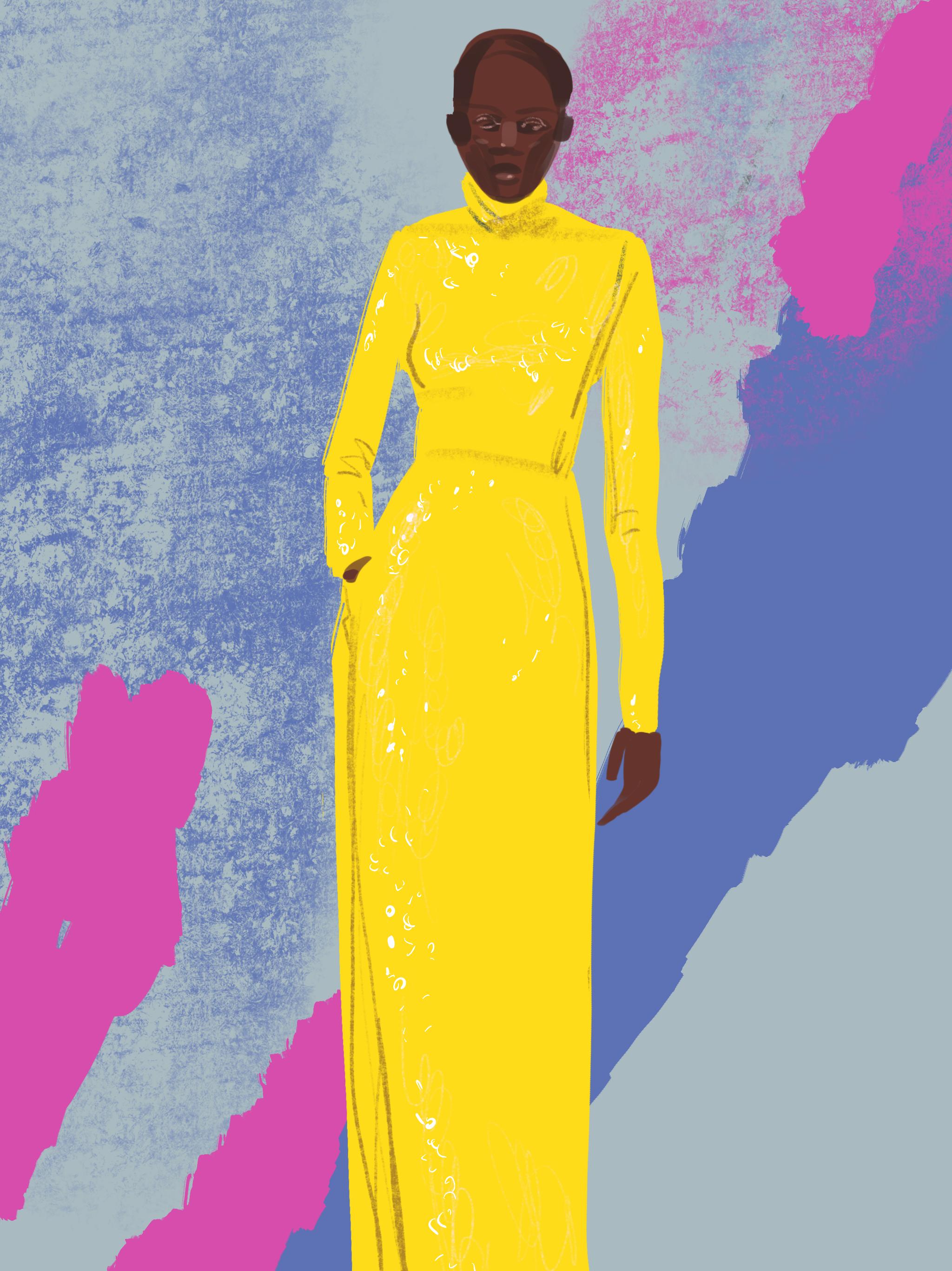 Column dress - fashion illustration by Silvana Mariani