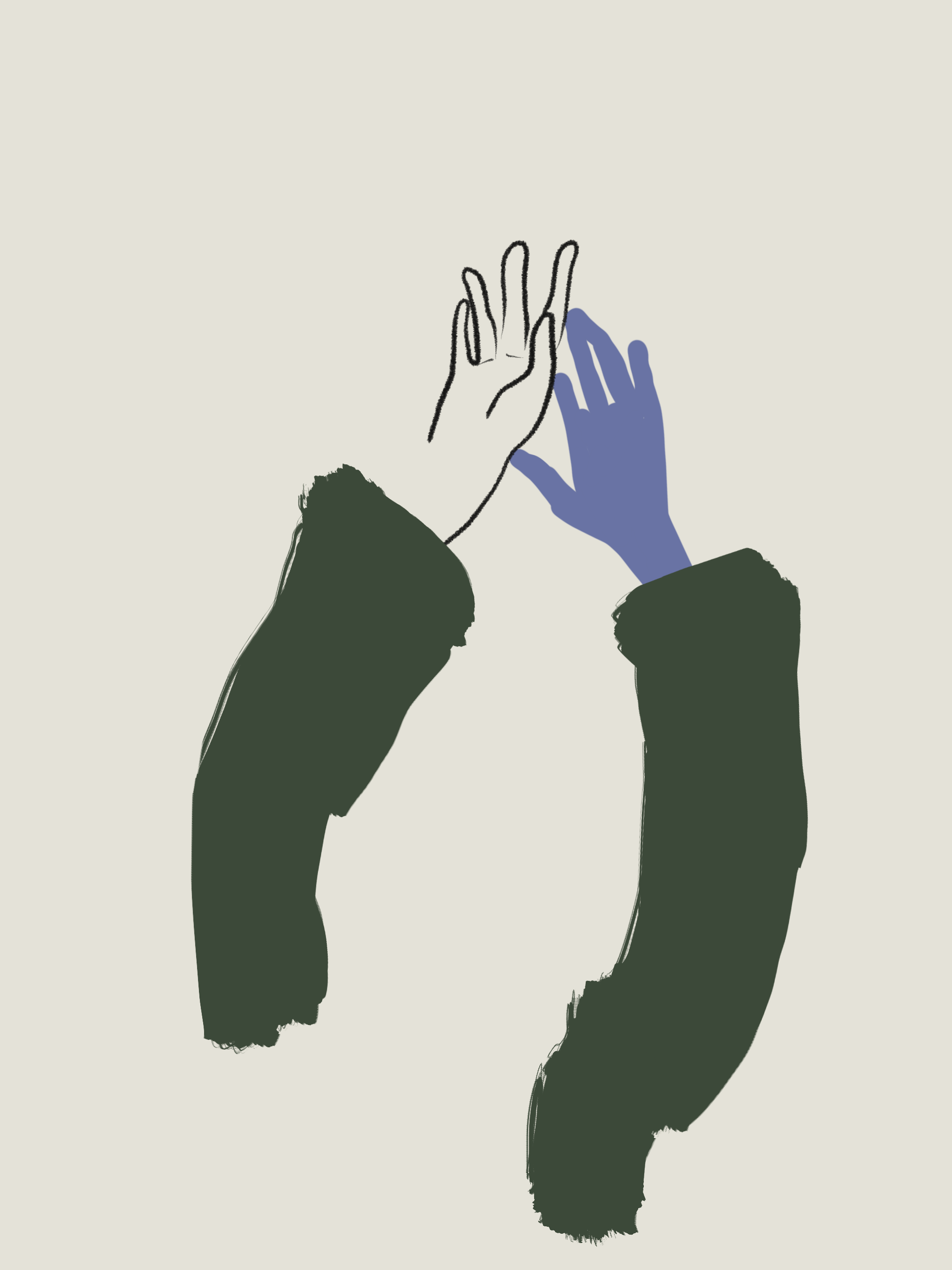 Hands in the air - illustration by Silvana Mariani