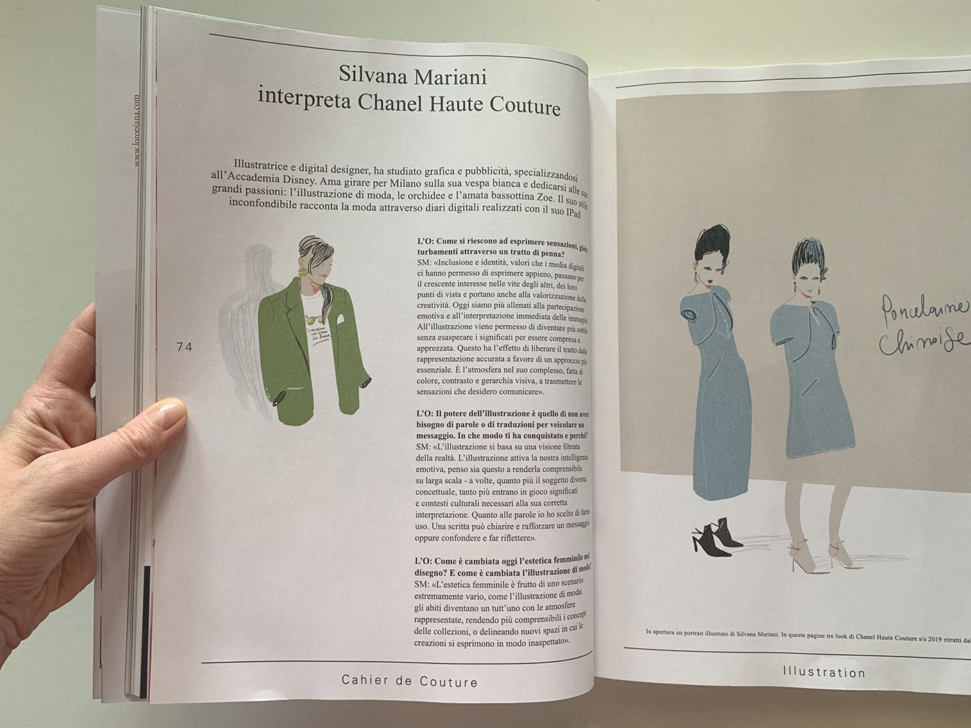Magazine pages with the interview to Silvana Mariani