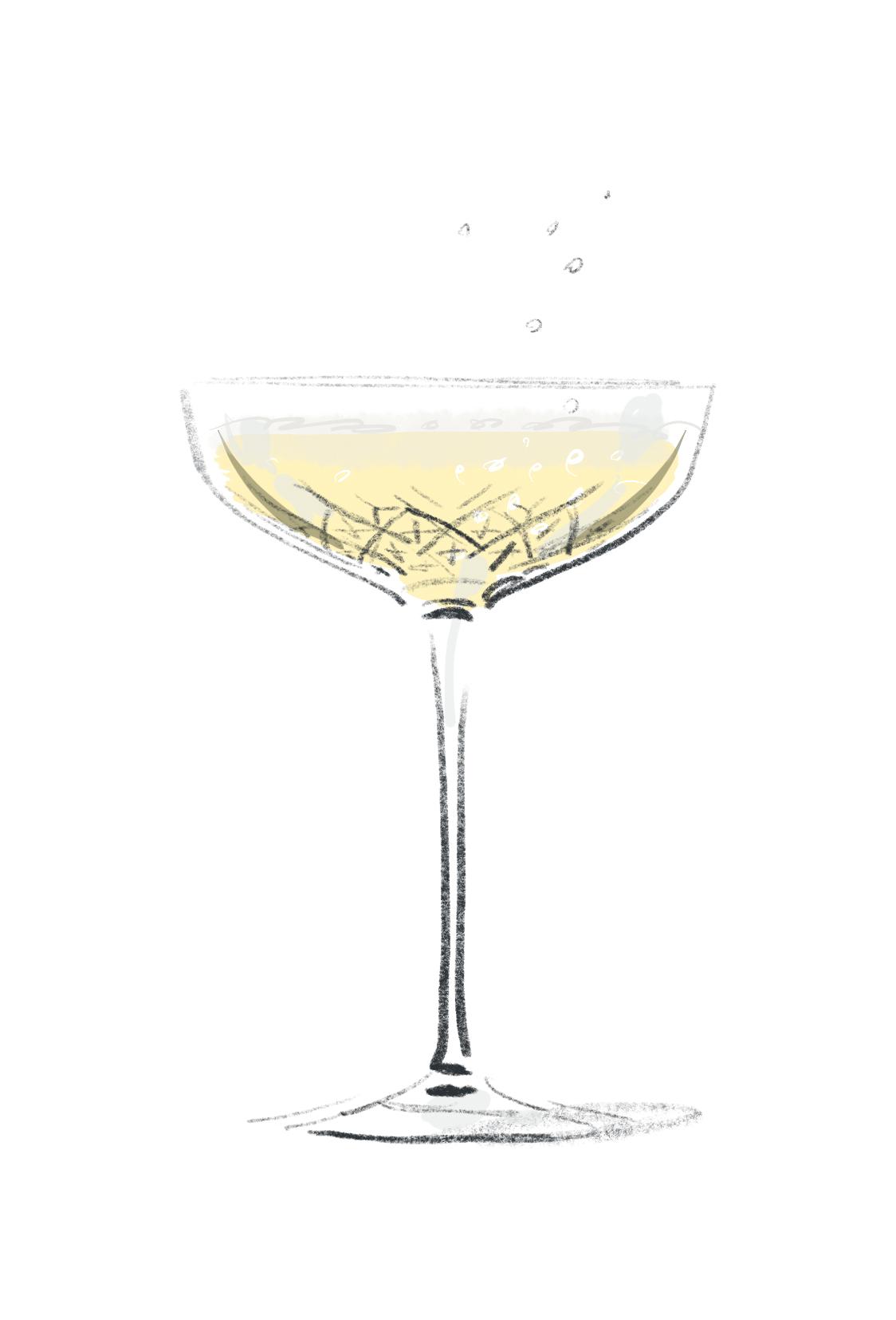 Champagne Food Illustration | Open Toe Illustration