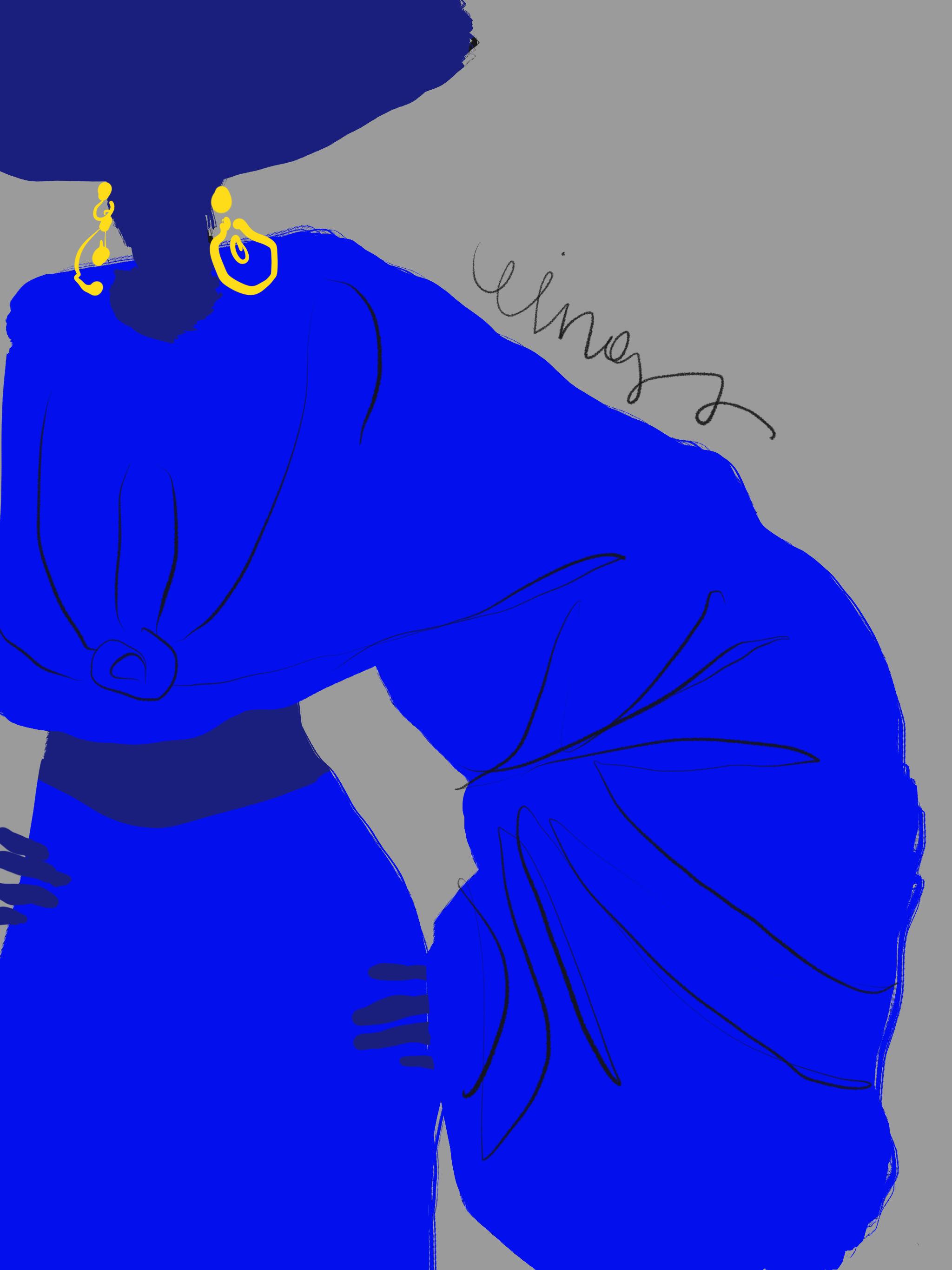 Blue fashion, Illustration by Silvana Mariani, 2021