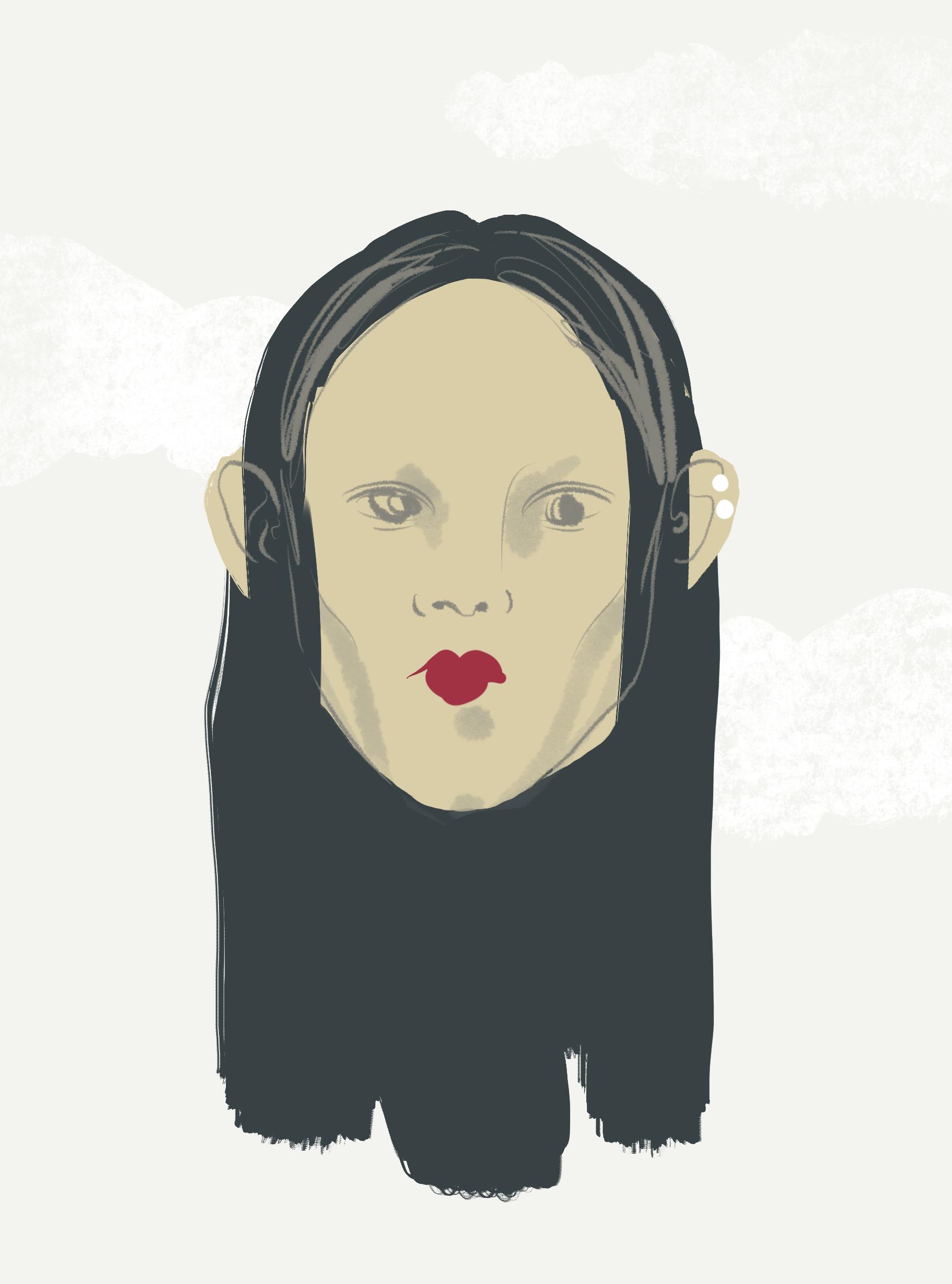 Pearl earrings, illustration by Silvana Mariani, 2021