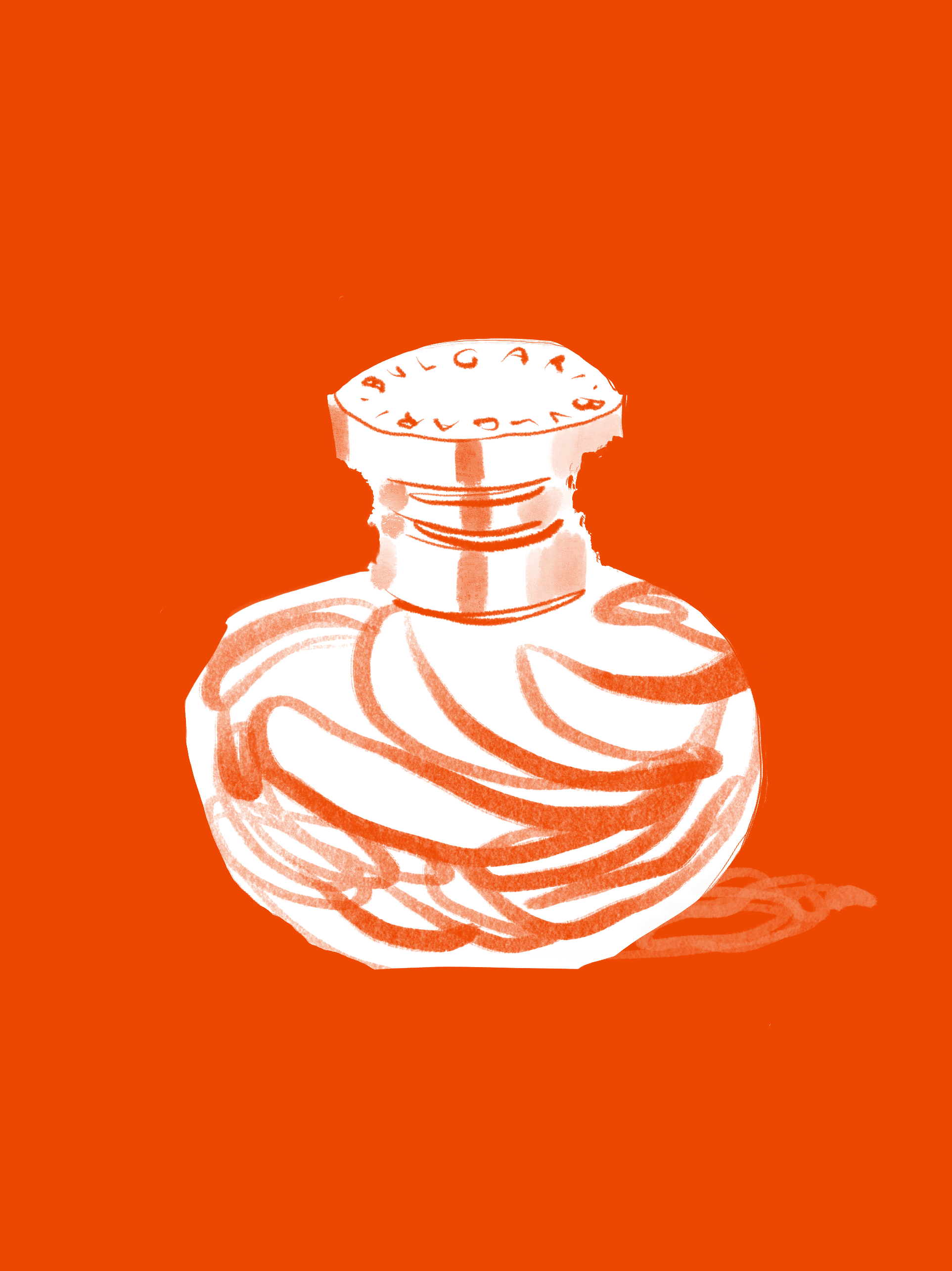 Orange perfume bottle, beauty illustration by Silvana Mariani