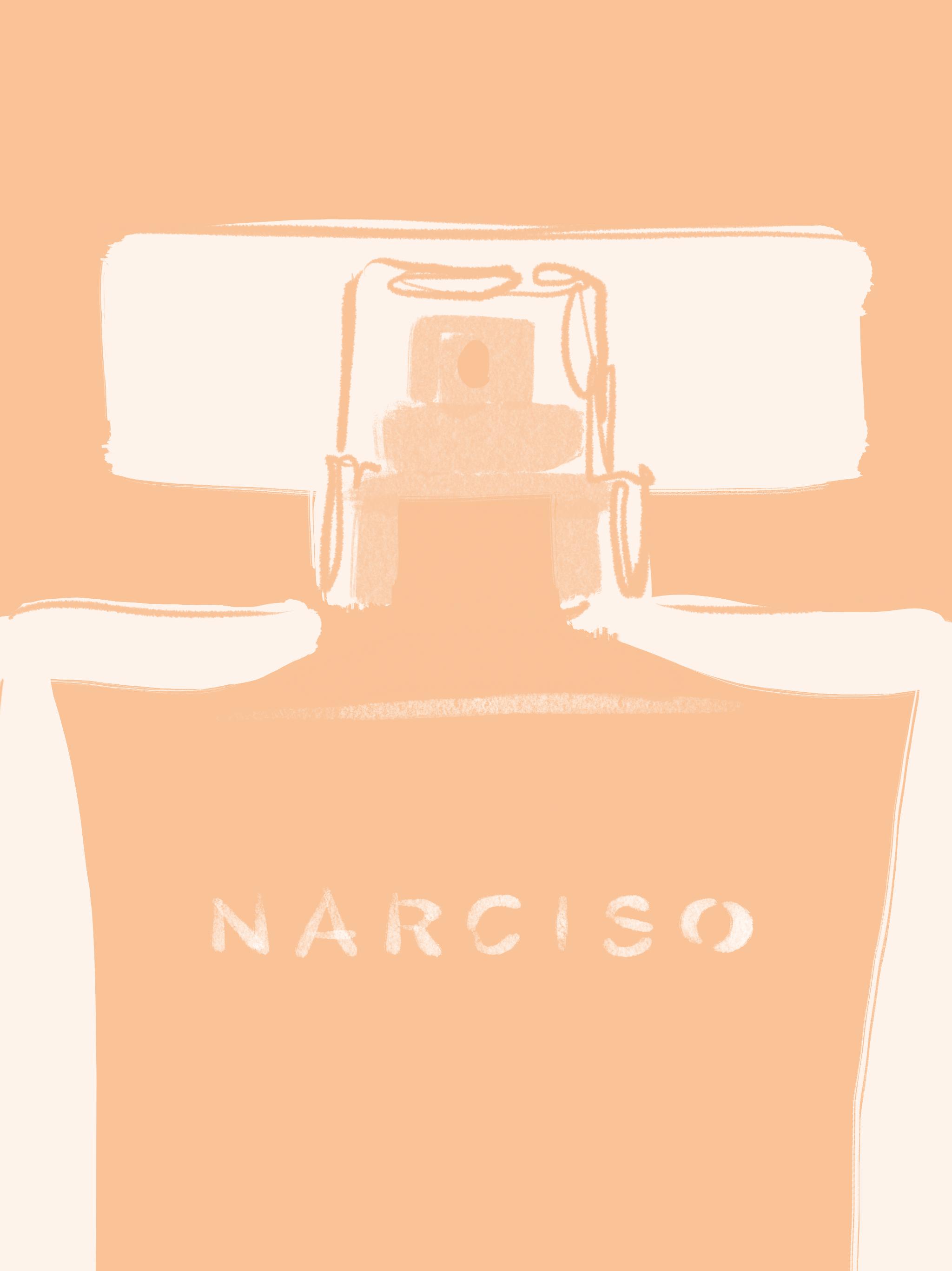 Peach perfume bottle, beauty illustration by Silvana Mariani