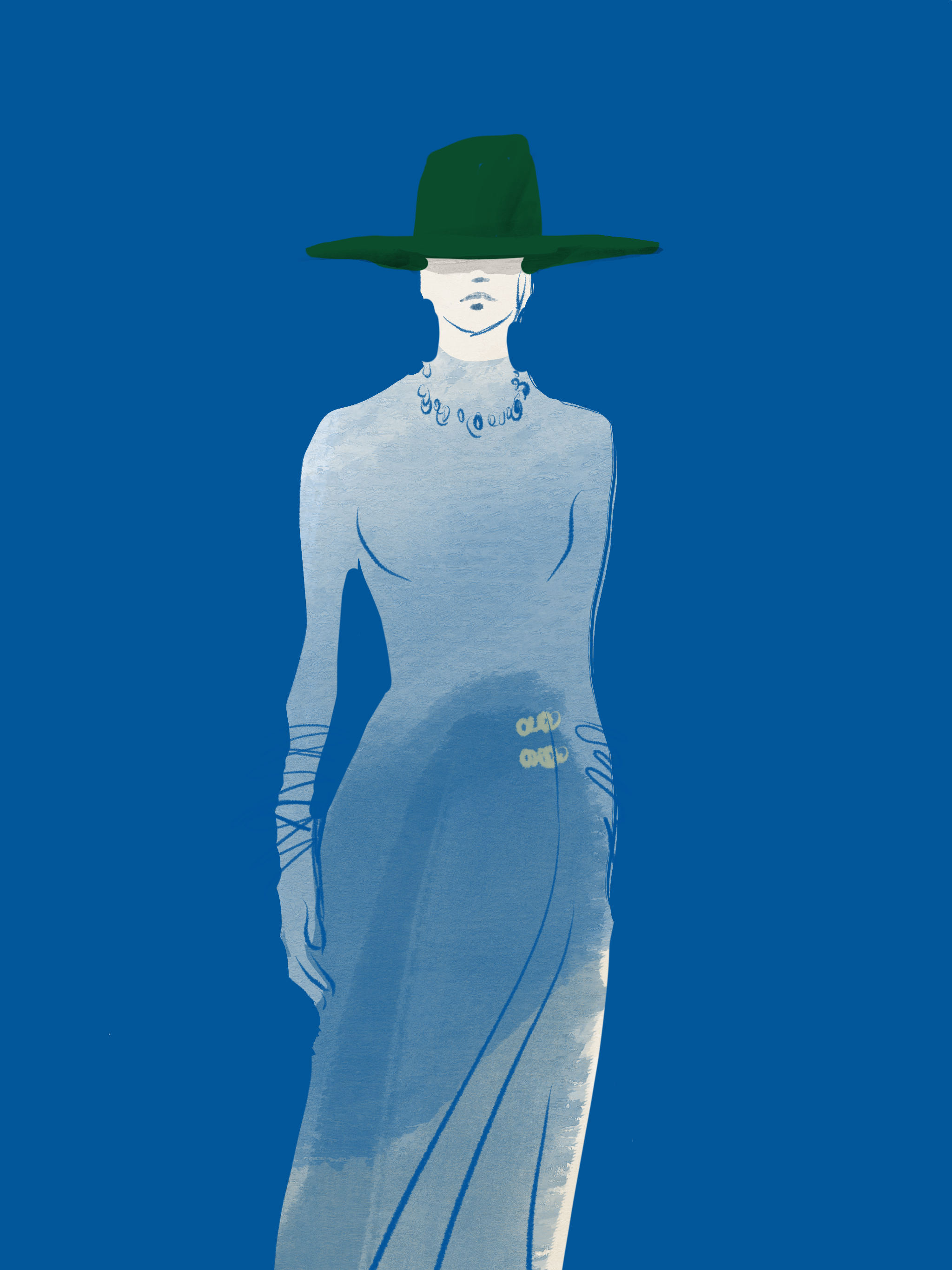 Green Hat, Fashion Runway Illustration by Silvana Mariani