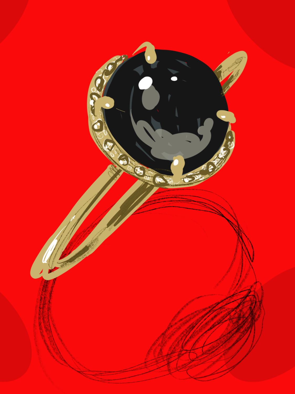 Black ring, Still life illustration by Silvana Mariani