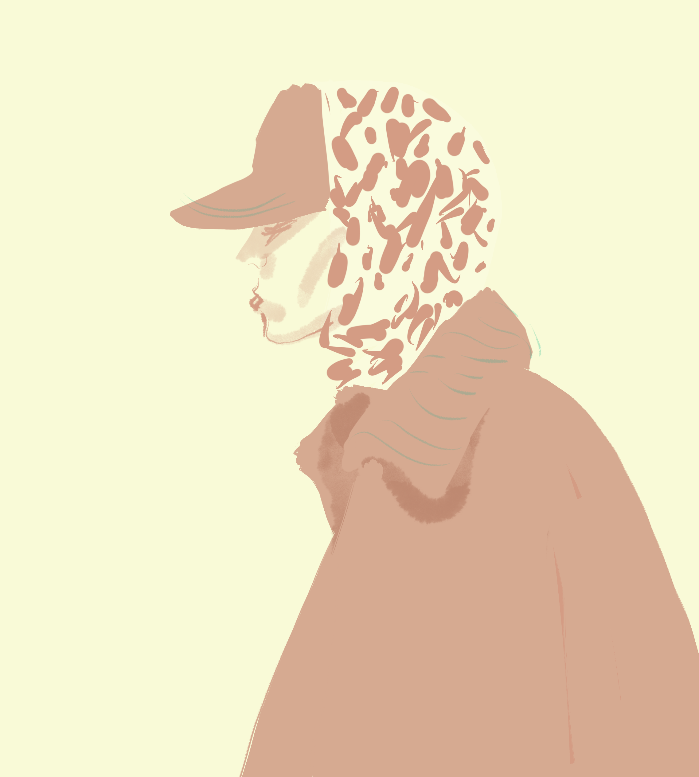 Cap, fashion illustration by Silvana Mariani