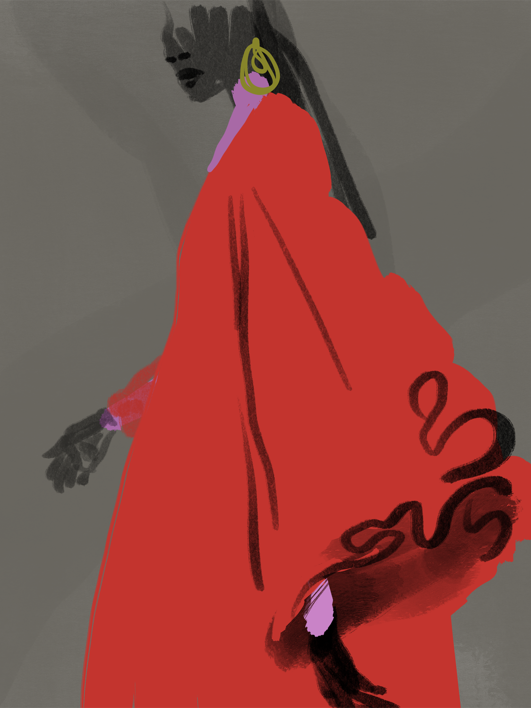 Red Dress, fashion illustration by Silvana Mariani