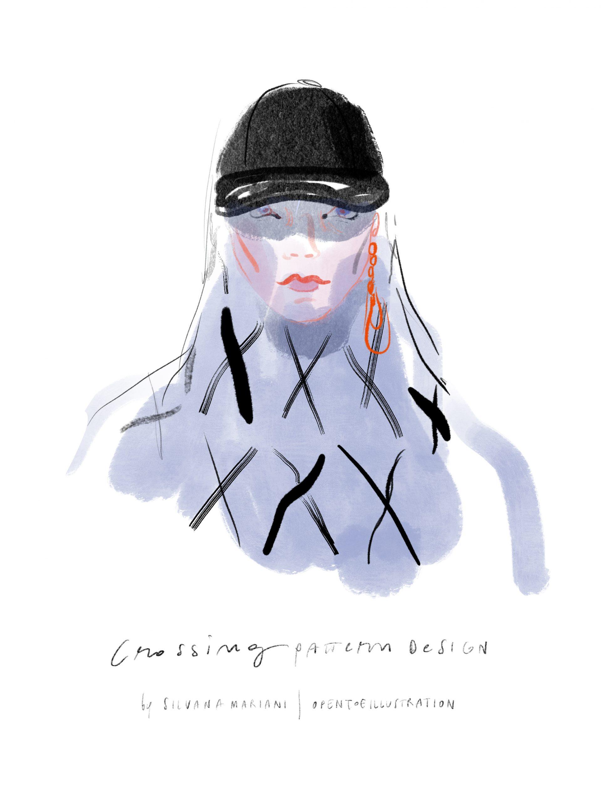 Crossing, fashion illustration by Silvana Mariani